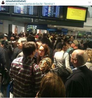 عکس نیما شاهرخ شاهی از وضعیت فرودگاه فرانسه