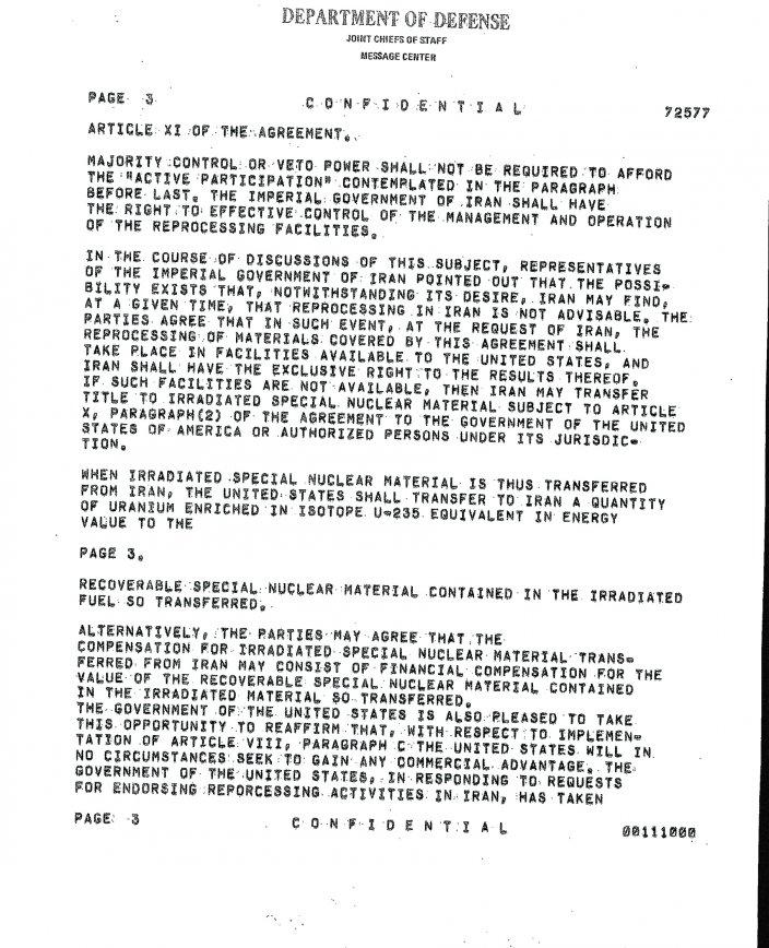 اسناد محرمانه آرشیو امنیت ملی آمریکا درخصوص برنامه هسته ای ایران در رژیم پهلوی+ سند