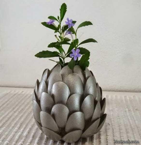 ساخت گلدان با وسایل دورریختنی ، تزیین خانه با وسایل ارزان ، آموزش ساخت گلدان