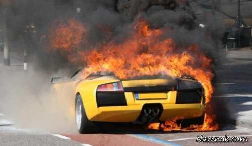 آتش گرفتن لامبورگینی ، لامبورگینی در دبی ، فیلم آتش گرفتن لامبورگینی